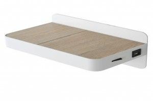 Wandleuchte 12907 Design modern Metall weiss matt Holz rechteckig