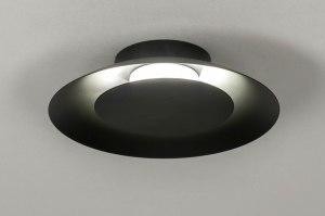 plafondlamp 12909 modern metaal zwart mat rond
