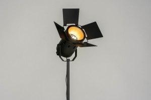 vloerlamp 12917 industrie look modern metaal zwart mat goud