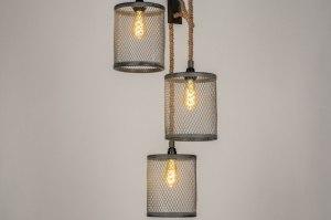 hanglamp 12940 industrie look landelijk rustiek modern stoer raw metaal grijs antraciet donkergrijs betongrijs rond