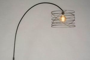 vloerlamp 12943 industrie look modern stoer raw metaal zwart antraciet donkergrijs oldmetal (gunmetal) rond
