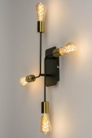 plafondlamp 12949 modern retro metaal zwart mat goud messing langwerpig