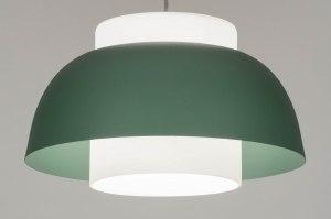 hanglamp 12950 modern glas wit opaalglas metaal wit mat groen rond