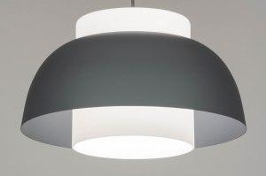 hanglamp 12951 modern glas wit opaalglas metaal wit mat grijs rond