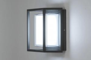 plafondlamp 12953 modern aluminium kunststof polycarbonaat slagvast metaal antraciet donkergrijs vierkant