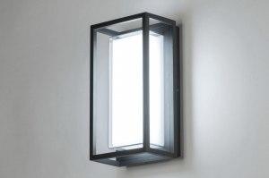 plafondlamp 12954 modern aluminium kunststof polycarbonaat slagvast antraciet donkergrijs rechthoekig