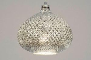 hanglamp 12957 modern eigentijds klassiek glas zilvergrijs chroom rond