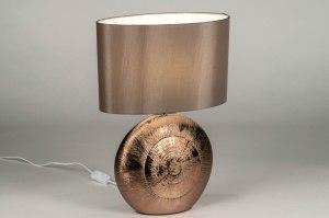 tafellamp 12959 modern klassiek eigentijds klassiek stof keramiek bruin roodkoper taupe ovaal