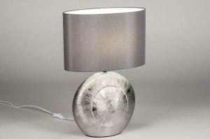 Tischleuchte 12960 modern zeitgemaess klassisch Stoff Keramik grau Silber oval