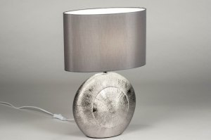 tafellamp 12960 modern eigentijds klassiek stof keramiek grijs zilvergrijs ovaal