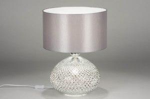 tafellamp 12962 modern eigentijds klassiek glas stof grijs zilvergrijs zilver  oud zilver rond