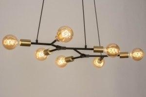 Pendelleuchte 12977 modern Art deco Metall schwarz matt Gold Matt Messing laenglich