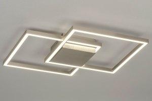 plafondlamp 12993 design modern staal rvs metaal staalgrijs vierkant
