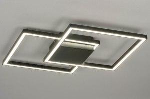 plafondlamp 12994 design modern metaal zwart mat vierkant