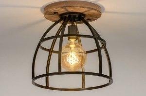 plafondlamp 12995 industrie look landelijk rustiek modern stoer raw hout metaal zwart mat oldmetal (gunmetal) rond