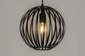 hanglamp 12998 modern metaal zwart mat rond