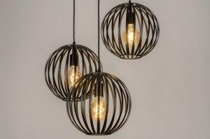 hanglamp 13001 industrie look modern retro metaal zwart mat rond