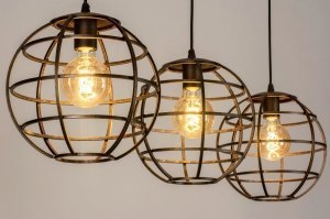 hanglamp 13002 industrie look landelijk rustiek modern metaal zwart roodkoper rond