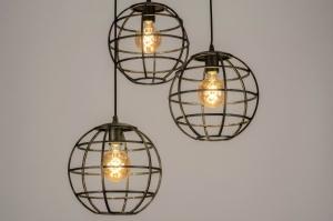 hanglamp 13003 industrie look landelijk rustiek modern metaal roest bruin brons bruin roodkoper rond