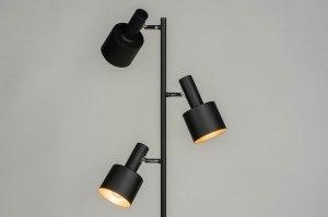 vloerlamp 13018 modern retro metaal zwart mat roodkoper rond