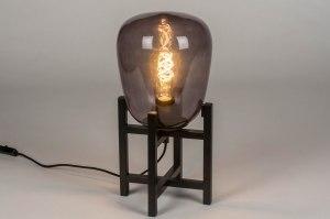 tafellamp 13020 modern retro glas metaal zwart mat grijs