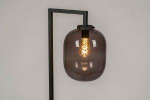 vloerlamp 13021 industrie look modern retro glas metaal zwart mat grijs rond