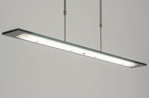 hanglamp 13023 design modern glas staal rvs metaal zwart grijs staalgrijs langwerpig rechthoekig