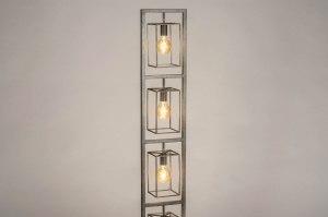 vloerlamp 13024 industrie look modern stoer raw metaal grijs zilver  oud zilver antraciet donkergrijs langwerpig rechthoekig
