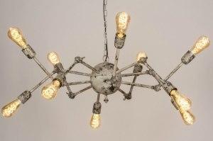 hanglamp 13025 landelijk rustiek stoer raw retro eigentijds klassiek metaal wit grijs meerkleurig rond langwerpig ovaal