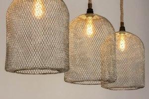 hanglamp 13027 industrie look landelijk rustiek stoer raw metaal wit grijs bruin rond