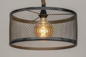 hanglamp 13029 industrie look landelijk rustiek modern metaal grijs antraciet donkergrijs rond