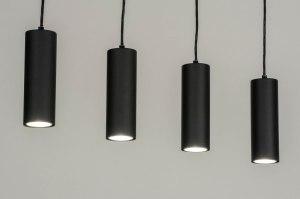 hanglamp 13032 modern metaal zwart mat rond langwerpig