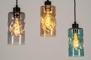 hanglamp 13034 modern retro glas metaal zwart mat grijs groen geel rond