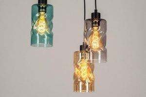 hanglamp 13035 modern retro glas zwart mat grijs groen blauw geel meerkleurig rond