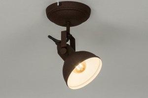 plafondlamp 13036 industrie look landelijk rustiek modern metaal roest bruin brons bruin rond