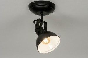 plafondlamp 13037 industrie look modern metaal zwart mat rond
