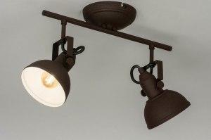 plafondlamp 13038 industrie look landelijk rustiek modern metaal roest bruin brons bruin rond