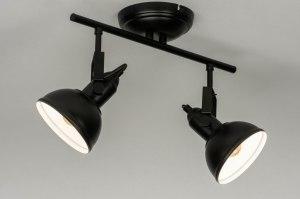 plafondlamp 13039 industrie look modern metaal zwart mat rond
