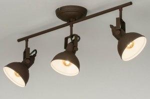 plafondlamp 13040 industrie look landelijk rustiek modern metaal roest bruin brons bruin rond