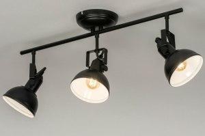 plafondlamp 13041 industrie look modern metaal zwart mat rond