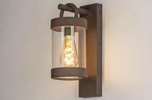wandlamp 13042 landelijk rustiek modern glas helder glas aluminium metaal roest bruin brons bruin langwerpig