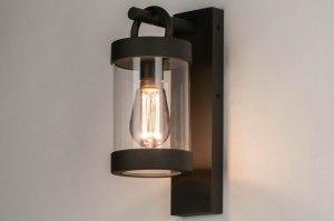 wandlamp 13043 modern glas helder glas aluminium metaal zwart mat langwerpig