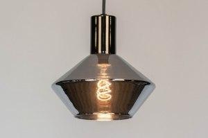 hanglamp 13079 modern retro glas antraciet donkergrijs rond