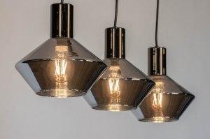 hanglamp 13080 modern retro glas antraciet donkergrijs langwerpig