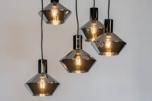 hanglamp 13081 modern retro art deco glas antraciet donkergrijs rond