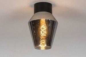 plafondlamp 13083 modern retro glas zwart antraciet donkergrijs rond