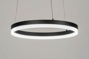 hanglamp 13096 modern aluminium metaal zwart mat rond