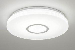 plafondlamp 13098 modern kunststof wit glans rond