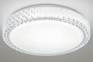 plafondlamp 13100 modern retro eigentijds klassiek kunststof metaal wit rond
