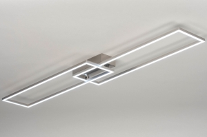 plafondlamp 13101 modern aluminium geschuurd aluminium metaal aluminium langwerpig rechthoekig